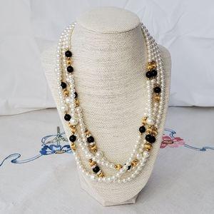 4/$25 Pearl rhinestone black gold multi necklace